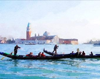 Venice gondolas watercolor painting, print at home Italian fine art, digita download Venice poster, instant download gondola aquarelle draw