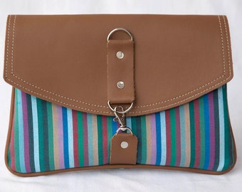 Kikoy Fabric w, Leather Flap Clutch