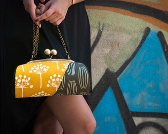 Floral Clutch Bag, Kiss Lock Purse with Dandelions, Mustard Yellow and Grey Clutch Purse with Strap, Bridesmaid Clutch, Metal Frame Clutch