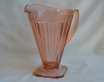 Vintage Jeannette Glass Adams-Pink Footed Pitcher