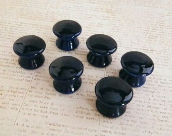 Navy Blue Hand Painted Furniture Knobs for Cabinet Doors, Dresser Drawers, Desk or Louver Doors. Add to Your Nautical or Beach Decor.