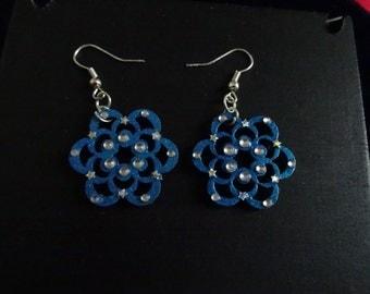 Mandala earrings blue-room single-made hand-Nickel free