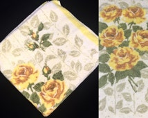 Vintage Towel | Bath | Yellow Rose Floral Print