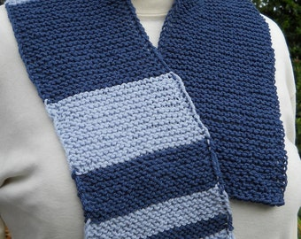 unisex dark blue and pale blue handknit washable wool fibonacci math teaching scarf