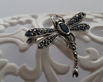 Dragonfly Brooch Libelula, Sterling Silver Brooch with Sapphire and Marcasite, Sapphire Brooch, Dragonfly Symbol of Immortality, Gift Idea
