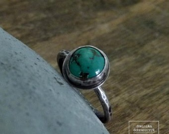 Turquoise ring sterling silver ring, turquoise sterling silver ring, boho turquoise ring, oxidized sterling silver ring, dark silver