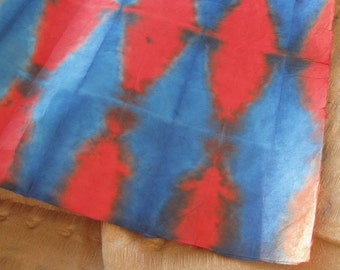 Red and Blue Folded and Dyed Itajime Lokta Paper 20x30 inch Sheet