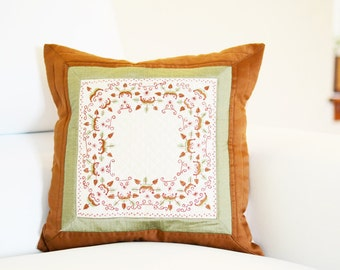 Embroidered Pillow Cover   Decorative Accent Pillow   16x16 Pillow Cover