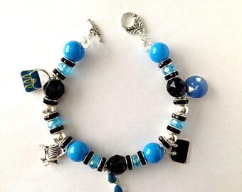 Aquamarine, Black and Silver Charm Bracelet