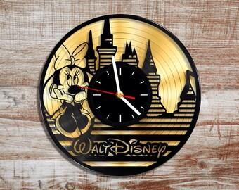 Walt disney vinyl record wall clock. Gold record. Minnie mouse. Disney castle