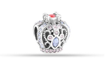 Sterling Silver s925 Luxurious Royal Crown with Pretty Crystal Accents