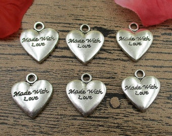12 Heart charms,love pendant,made with love, antique silver tone-RS013