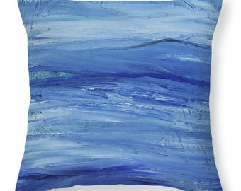 Blue Decorative Throw Pillow Burlington Lake