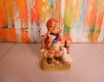 Vintage Erich Stauffer #8394 Girl with Goose Figurine