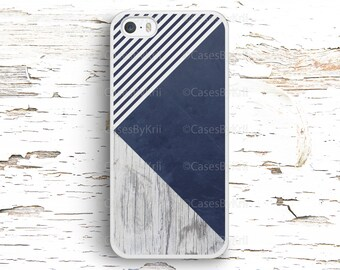 Geometric Deep Blue Wood Texture Case, iPhone 7 6S 6 SE 5S 5 5C 4S, Samsung Galaxy S6 Edge S5 S4 S3, LG G4 G3, Sony Xperia Z5 Z3, HTC One M8