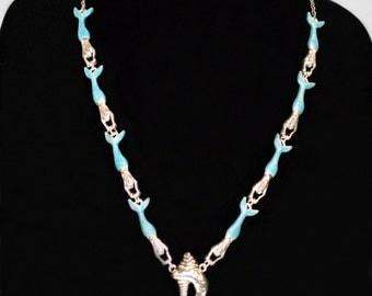 Aqua Swimming Mermaid Necklace