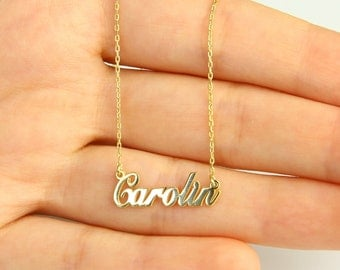 Gold Tiny Name Necklace, Name Necklace,Personalized Name Necklace,Christmas Gift,Bridesmaid Gift