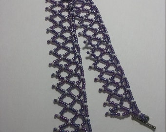 Purple seed bead ankle bracelet, size 10.5