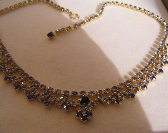 Beautiful Vintage Necklace With Stunning Blue Stones