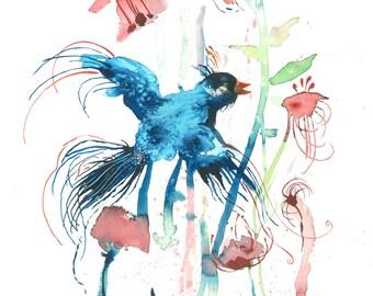 Blue Bird - Watercolour