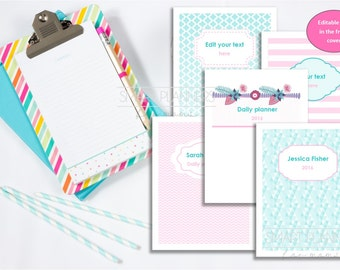 "Planner cover pack, editable, printable, 5 designs. Custom binder cover, digital. US Letter Size (8.5"" x 11""). Pink and teal. PDF File"