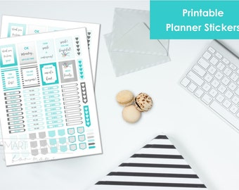 "Printable planner Stickers,gray and teal color. US Letter Size (8.5""x11""), Portrait. To do digital stickers. Instant download."