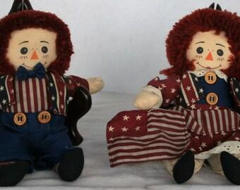 Handmade Patriotic Raggedy Ann and Andy Dolls