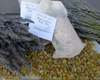 Relaxation Tub Tea, herbal bath soak! Mineral Dead Sea Salt, gluten-free oats, organic lavender and German chamomile.  Ahhhhhhh, lovely!