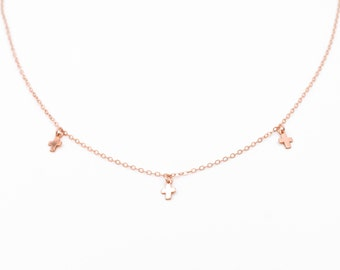 Mini necklace cross pink, plated gold way gold filled 14 k rose gold, minimalist/modern/french/mother's day