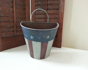 """Upcycled 4th of July hanging metal tin - 5.5"""" x 6.5"""""""
