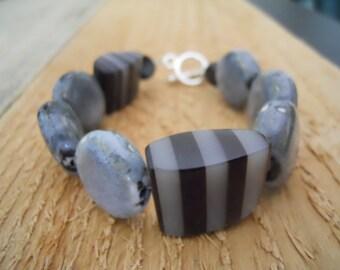 Black & grey beaded bracelet / handmade