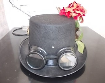 Gothic Steampunk Hat.Goggles.Rose.Medallion.Size 57