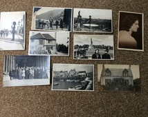 Vintage photograph collection, 9 black & white photographs from the 1940s printed on postcards, London scenes, Queens Guard, Social History