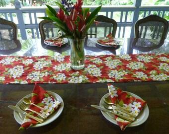 Plumeria FlowersTable runner with 4 napkins