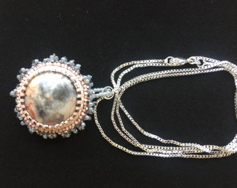 Pink/grey Rhodonite Stone beaded bezel with sterling silver chain