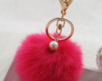 POM POM key chain/ bag charm in red