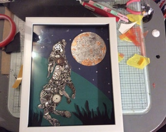 MOON GAZING HARE mixed media picture