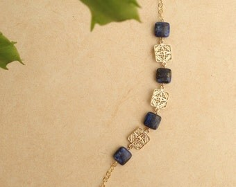 Goldfield bracelet with natural lapis lazuli.