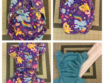 Purple Little Pony's Fitted Cloth Diaper