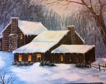 14 x 18 Origina Oil Painting..... Cabin in the Snow