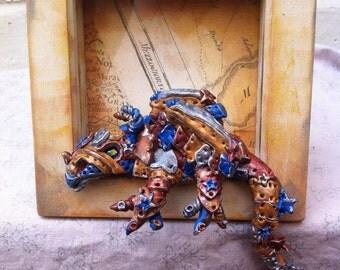 Dragon sculpture,Polymer Clay Dragon,Steampunk dragon,Blue Dragon,clay figurine,polymer clay sculpture,OOAK Fantasy Creature,box frame