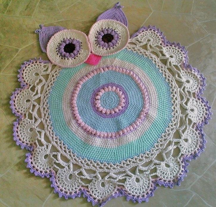 Crochet Owl Rug Pattern: Crochet Owl Doily Rug