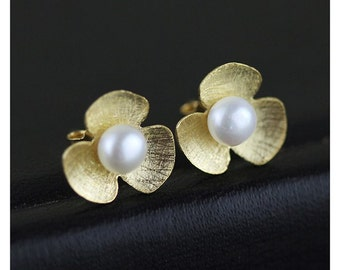 925 Sterling Silver earrings gold-plated four-leaf clover