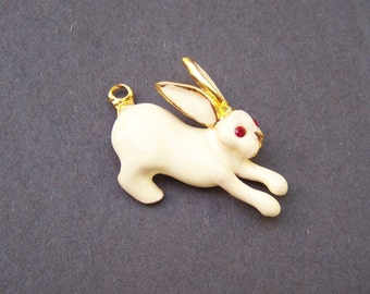 Vintage Phister White Enameled Bunny Pin with Red Ruby Eyes