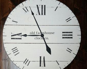 "24"" farmhouse clock, fixer upper clock, shiplap clock with white finish and roman numerals, shabby chic decor, oversized clock, rustic clock"