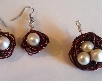 Birds Nest with Natural pearls