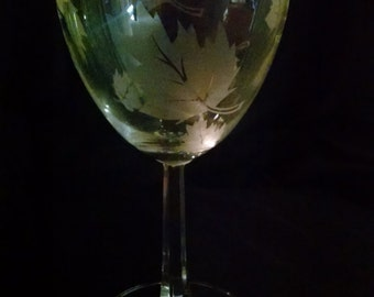Hand etched fall wine glass