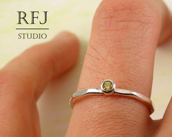 Faceted Lab Citrine Silver Ring, Yellow CZ 2 mm Large Texture Sterling Ring Simulate Citrine Stackable Hammered Ring Yellow CZ 925 Silver