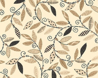"Floral Fabric: The Winding Vine Cream - Happy Home by Christine Graf for Quilting Treasures 100% cotton fabric by the yard 36""x44"" (C301)"