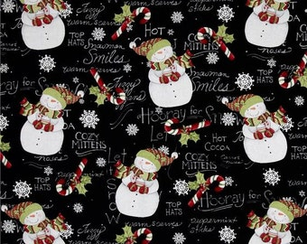 "Christmas Fabric, Holiday Fabric: Christmas Hooray for Snow snowman - Snowflakes and candy cane 100% cotton Fabric by the yard 36""x44"" (M45)"